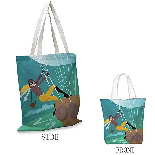 Explore Shopping bags can be reused Vintage Cartoon Style Explorer Spy Woman Figure Adventurer on a Hot Air Balloon Used as a grocery bag in the market W15.75 x L17.71 Inch Multicolor