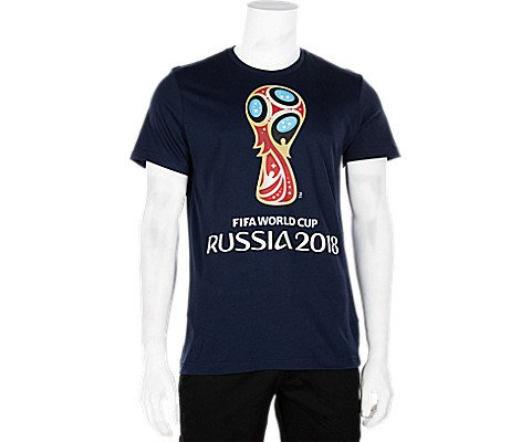 adidas World Cup Soccer World Cup Emblem Men's Tee, Small, Blue