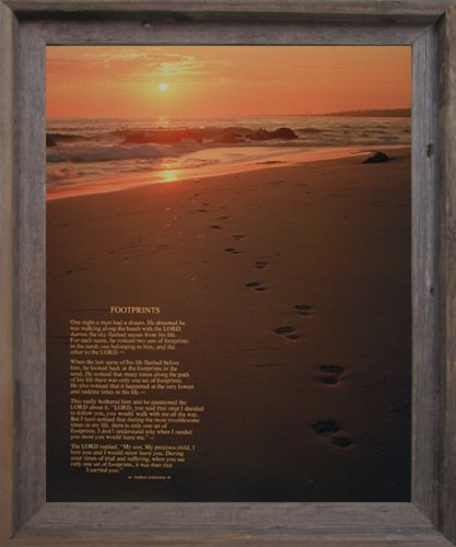 Footprints Poster in the Sand Motivational Barnwood Framed Wall Decor Picture Art Print
