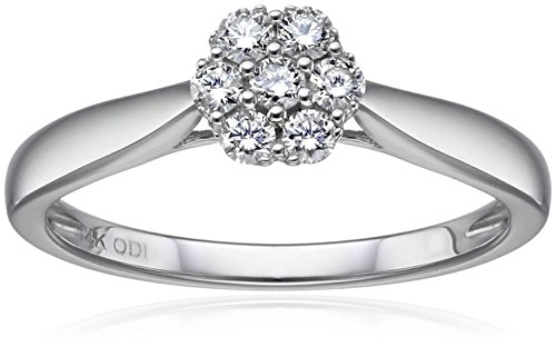 IGI Certified 14k White Gold Diamond Cluster Solitaire Ring (1/4carat, H-I Color, I1-I2 Clarity), Size (1/4 Carat Diamond Cluster Ring)