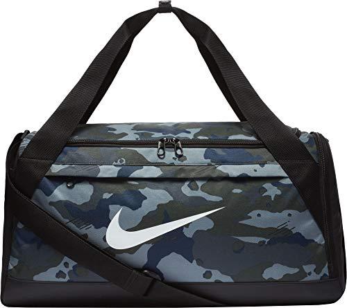 Nike Brasilia Printed Training Duffel Bag (Small, Dark Grey/Black/White)