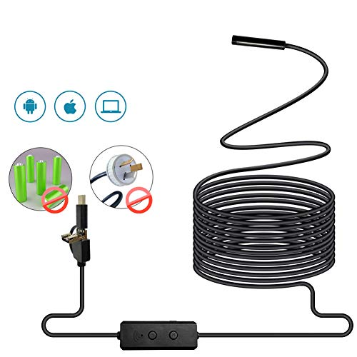 Ocamo 3 en 1 WiFi Endoscopio Cámara Mini Impermeable Cable Duro Cámara de Inspección USB Endoscopio Borescopio, 1M