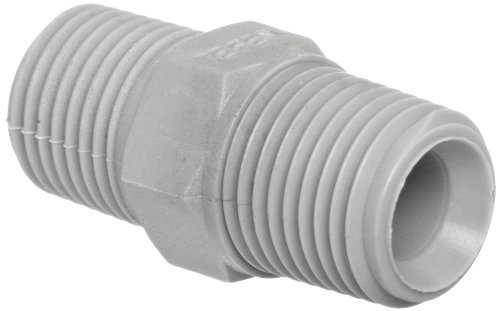 Tefen Nylon 6/6 Pipe Fitting, Hex Nipple, Gray, 1/2