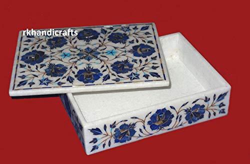 Rectangle Marble Jewelry Box Bangle Box Inlay Work Lapis Lazuli with Floral Gem Stones Design Elegant Wedding Gift 8 x 6 Inches