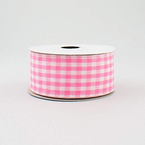 (Pink White Gingham Check Wired Ribbon (1.5 Inch x 10 Yards) : RG010481L)