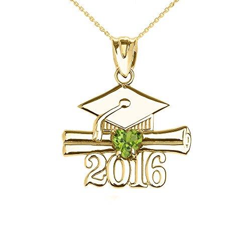 Collier Femme Pendentif 14 Ct Or Jaune Cœur Août Pierre De Naissance Clair Vert Oxyde De Zirconium Classe De 2016 Graduation (Livré avec une 45cm Chaîne)