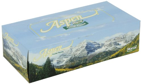 Marcal Pro Aspen Facial Tissue - 100% Recycled, 2-Ply, White Tissues - 144 Sheets Per Box, 36 Flat Office Tissue Boxes per Case 03305 by Marcal (Image #1)