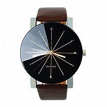 Nurbo Luxury Men Women Round Dial Clock Leather Strap Quartz Wrist Watch