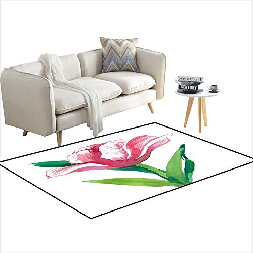 Extra Large Area Rug Pink Tulip 36
