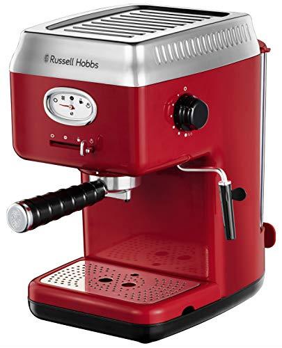 Russell Hobbs Retro – Cafetera Espresso (Presión 15 Bares, Varilla de Vapor Giratoria, Rojo) – ref. 28250-56