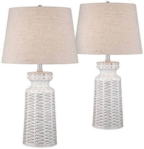 (Helene Country Cottage Table Lamps Set of 2 Ceramic Rustic White Glaze Linen Shade for Living Room Family Bedroom Bedside - 360)