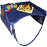 """Kids Car Tray and Travel Tray for Eat & Play by Boxiki Kids. 16""""x 13"""" Travel Organizer Tray with Waterproof Nylon Surface, Large Mesh Side Pockets, Water Bottle Holder. 100% Safe"""