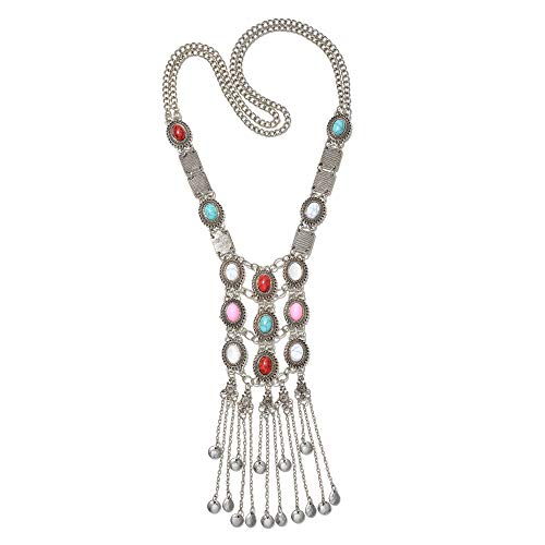 Miraculous Garden Womens Vintage Silver/Gold Turquoise Long Ethnic Tribal Boho Beads Fringe Necklace Bohemia Style Fashion Indian Turkish Themed Necklace Oxidized for Women Big Ethnic Costume Jewelry