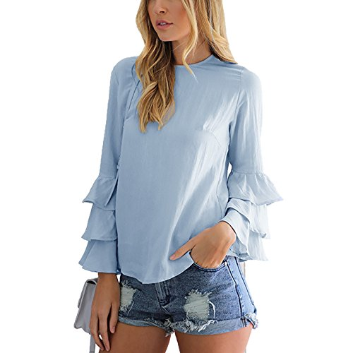 Calflint Women's Layered Long Sleeve Casual Pullovers Blouse Chiffon Top 5X-Large Size Sky Blue