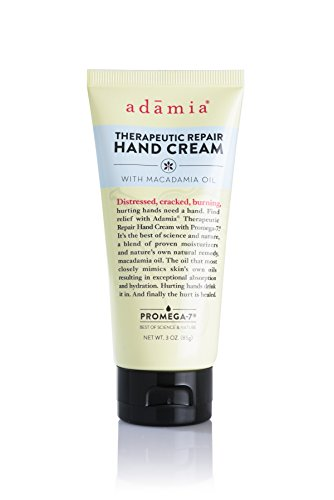 Adamia Therapeutic Repair Hand Cream with Macadamia Nut Oil and Promega-7, 3 Ounces - Fragrance Free, Paraben Free, Non GMO