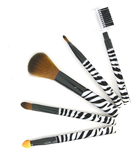 Perfect Makeup Set Zebra Print (5pc Professional & Personal Cosmetic Make up Brushes Set Kit)