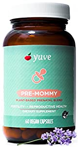 Yuve Natural Complete Prenatal Vitamins - Fertility Support, Hormone Balance & Cycle Regulation for Women - Supports a Healthy Pregnancy - Vegan, Non-GMO, Gluten-Free - 60 One a Day Vegetarian Caps