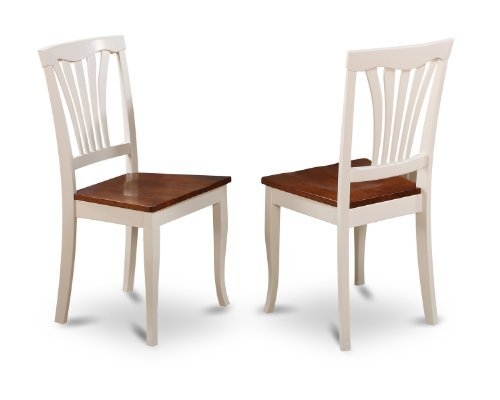 (East West Furniture AVC-WHI-W Dining Chair Set with Wood Seat, Buttermilk/Cherry Finish, Set of 2)