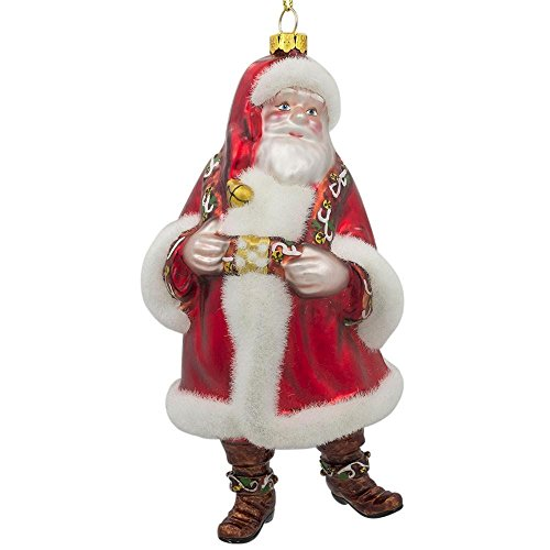 BestPysanky Classic Santa Claus in a Fluffy Fur Coat Glass Christmas Ornament 6 Inches Blown Glass Santa Ornament