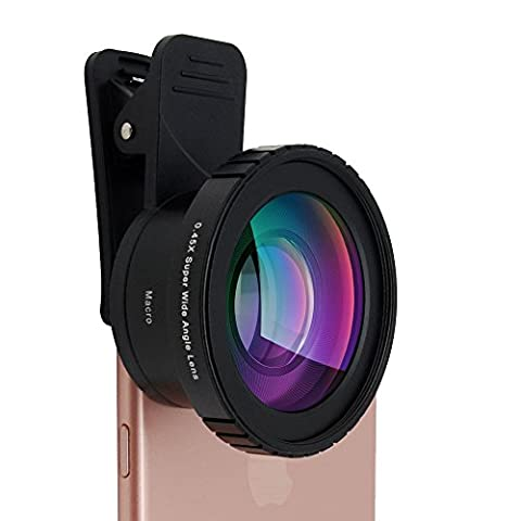 Phone Camera Lens Kit Universal - AiKEGlobal AK009 140° Ultra Wide Angle + 15X Macro Lenses 2 in 1 for iPhone 7/6s/Plus, Samsung S7/S6/edge, LG, Moto, HTC, Sony and more, Ideal for (High Megapixel Phone)
