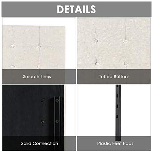 Bedroom Giantex Modern Upholstered Headboard, Tufted Button Faux Linen Headboards, 3 Level Adjustable Height, Heavy Duty Metal… modern headboards