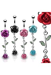 SBJ-0001 Stainless Steel Navel Ring w/ Metal Rose & Rose Dangle; Comes With Free Gift Box