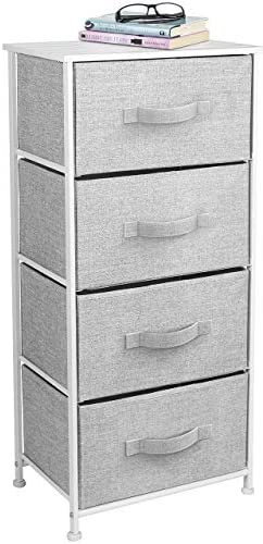 Sorbus Dresser with 4 Drawers – Tall Storage Tower Unit Organizer for Bedroom, Hallway, Closet, College Dorm – Chest Drawer for Clothes, Steel Frame, Wood Top, Easy Pull Fabric Bins (White/Gray)