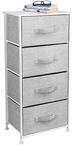 Sorbus Nightstand Chest with 4 Drawers - Bedside Furniture End Table & Dresser for Clothing, Bedroom Accessories, Office, College Dorm, Steel Frame, Wood Top, Easy Pull Fabric Bins (White/Gray) (Chest Drawers Lingerie Of)