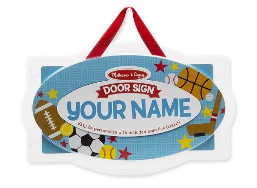 Melissa & Doug Wooden Door Plaque: Sports - Personalized Name Sign (Letters Hanging Sports Wall)