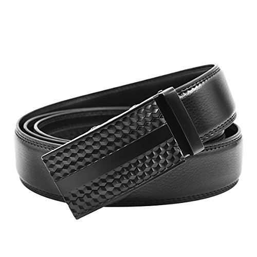 Men's Classic Belt Genuine Leather Black Dress Belts for Men with Automatic Buckle Gift Box
