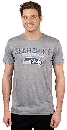 NFL Seattle Seahawks Men's T-Shirt Athletic Quick Dry Active Tee Shirt, Small, Gray (Seattle Seahawks Shirt)