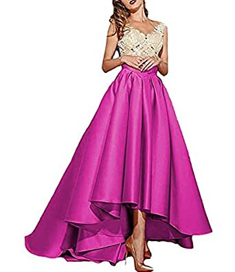 Alanre Women's Sheer Cap Sleeves Ivory Appliques Lace Prom Gowns Evening Dress High Low Fuchsia 8