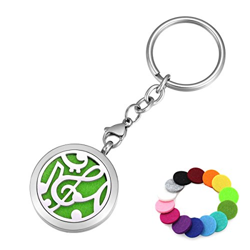 Aromatherapy Essential Oil Diffuser Key Chain Ring, Music Notes Stainless Steel Locket Pendant Keychain, 14 Refill Pads