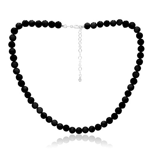 Onyx Choker - Sea of Ice Onyx 6mm Round Beads Necklace 14