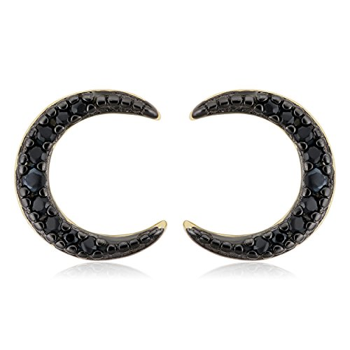 Yellow Gold over Sterling Silver Black Spinel Crescent Moon Stud Earrings