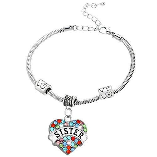 Elechobby Crystal Love Heart Pendant Bracelet Gift for Sister Beautiful Bracelets Best Blessing Sister's Birthday Party Gifts (Colored Crystal Sister)