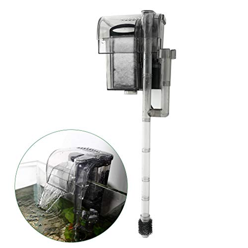 (Boxtech Rimless Aquarium Multi-Function Hang On Filter - 3 in 1 External Power Waterfall Suspension Oxygen Pump - Slim Hanging Activated Carbon Biochemical Wall Mounted Fish Tank Filtration)