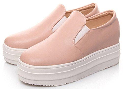 Idifu Kvinna Andas Hög Plattform Halka På Sneakers Låg Topp Platta Loafers Med Klack Inuti Rosa