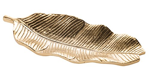 Red Co. Banana Leaf Tray, Gilded Aluminum Centerpiece Décor and Serveware, 14-inch