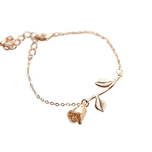 Rose Gold Plated Rose Pendant Bracelet Beauty and the Beast Jewelry Rose Bracelet Bridesmaid Bracelet Gift Flower Girl Gift - 3MRBR (Blank Leaf) (Flower Pendant Bracelet)