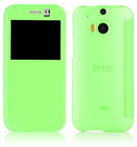 JAMMYLIZARD [ HTC One M8 Case ] Green Transparent Window Flip Cover, Screen Protector Included