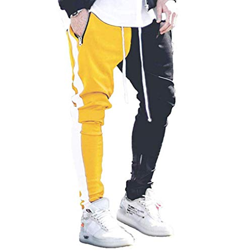 do.Cross Mens Striped Drawstring Running Pants Jogger Hipster Hip Hop Athletic Trousers with Pockets (2XL, Black-Yellow)