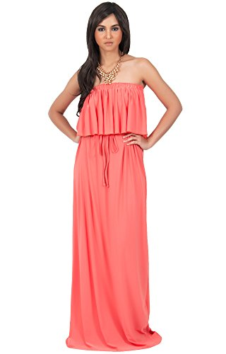 KOH KOH Plus Size Womens Long Evening Summer Sexy Flowy Beach Party Casual Day Sun Casual Strapless Tube Loose Stretchy Sundress Maternity Gown Gowns Maxi Dress Dresses, Coral XL 14-16