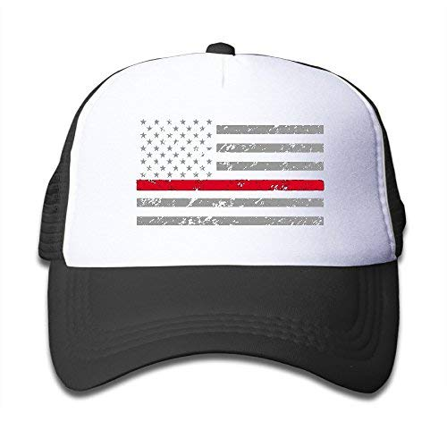 Thin Red Line American Flag Plain Hat Adjustable Back Mesh Cap For Child