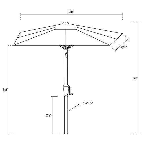FLAME&SHADE 6ft 6in x 10 ft Rectangular Outdoor Market Patio Umbrella Parasol with Crank Lift, Push Button Tilt, Beige by FLAME&SHADE (Image #7)