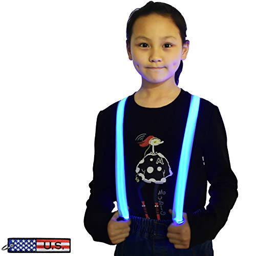 LED Light Up Glowing Heavy Duty Clip Suspenders for Children Boys Kids costume (Blue- Kids Size) ()