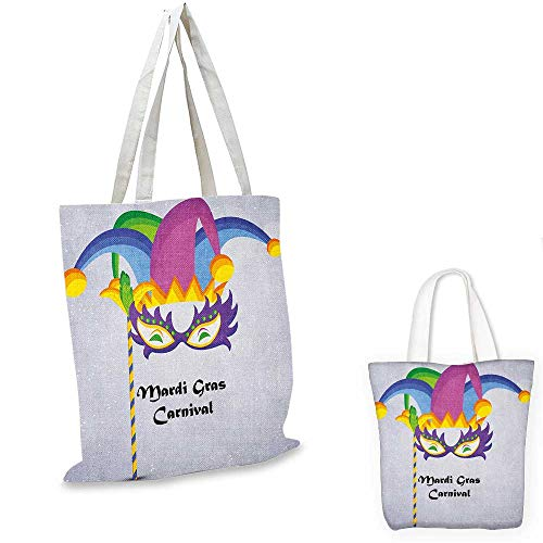 Mardi Gras portable shopping bag Mardi Gras Carnival Inscription with Traditional Party Icons Clown Costume Hat shopping bag for women Multicolor. 15