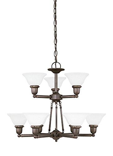 Sussex Nine Light Chandelier - Sea Gull Lighting 31062EN3-782 Sussex Chandelier, 9-Light LED 85.5 Total Watts, Heirloom Bronze