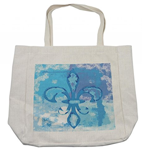 Ambesonne Fleur De Lis Shopping Bag, Illustration of Lily Flower Like Frozen Heredic Nobility Emblem Queenly Style Print, Eco-Friendly Reusable Bag for Groceries Beach Travel School & More, Cream