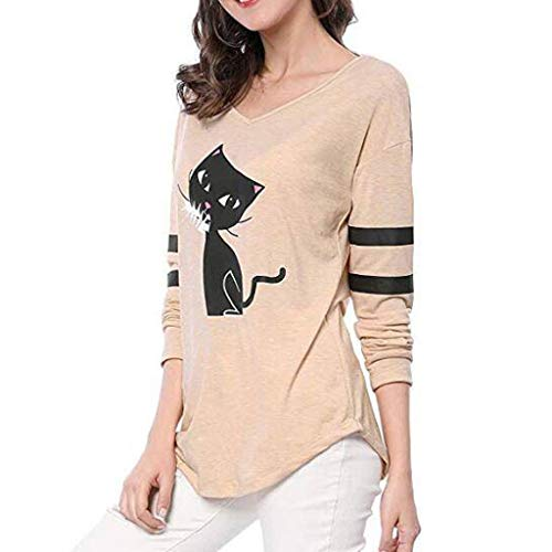 Todaies Cat Splice Tops, Fashion Women Casual Loose Long Sleeve V-Neck T-Shirt (M, Beige)